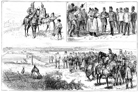 0371126 © Granger - Historical Picture ArchiveAUSTRIA: MILITARY, 1881.   Military maneuvers in Austria. Top left: Two mounted patrolmen. Top right: Arrival of the Emperor Franz Joseph I at Miskolcz. Bottom: Building a pontoon bridge over the river Sajo, while the Emperor observes. English wood engraving, 1881.