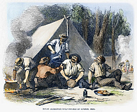 0097562 © Granger - Historical Picture ArchiveAUSTRALIAN GOLD RUSH, 1851.   Gold miners of the Mount Alexander diggings at Port Phillip, Victoria, having dinner in camp, 1851. Wood engraving, English, 1852.