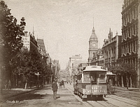 0322665 © Granger - Historical Picture ArchiveAUSTRALIA: MELBOURNE.   View of Collins Street from Russell Street in South Melbourne, Australia. Photograph, c1880-1915.