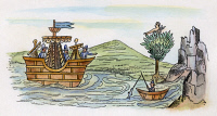 0007446 © Granger - Historical Picture ArchiveSPANISH CONQUEST, c1519.   The arrival in Mexico of a Spanish ship from Cuba, c1519. Aztec drawing.