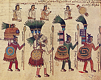 0053901 © Granger - Historical Picture ArchiveAZTEC WARRIORS.   Four captains in the Aztec army, and above: vassals of a rebellious lord pleading for mercy. Manuscript painting from 'Codex Mendoza'.