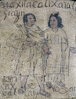 0104449 © Granger - Historical Picture ArchiveMEXICO: INDIAN CLOTHING.   Native Mexican Indians wearing robes and sandals. Drawing from a codex fragment, mid 16th century.