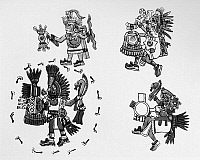 0128858 © Granger - Historical Picture ArchiveMEXICO: AZTEC CEREMONY.   Four Aztec men or deities depicted in a religious ceremony. Manuscript illumination from the Codex Magliabechiano, mid 16th century.