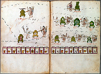 0167673 © Granger - Historical Picture ArchiveMEXICO: AZTEC CODEX.   Post-conquest Aztec drawing of their legendary journey to Tenochtitlan and the places in which they fought the Spanish. From the Codex Telleriano-Remensis, c1540.