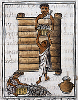 0167688 © Granger - Historical Picture ArchiveMEXICO: AZTEC STORAGE.   Aztec men storing food. Drawing from the Codex Florentino, compiled by Bernardo de Sahagun, c1540.
