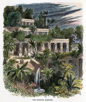 0010448 © Granger - Historical Picture ArchiveBABYLON: HANGING GARDENS.   Wood engraving of the ancient wonder, 19th century.