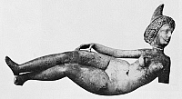 0167795 © Granger - Historical Picture ArchiveBABYLON: RECLINING NUDE.   Alabaster figure of a reclining goddess or odalisque. Babylon, Seleucid or Parthian period, 312-64 B.C.