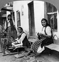 0410251 © Granger - Historical Picture ArchiveSPINNING FLAX, c1918.   Peasant women spinning flax, Bulgaria. Photograph, c1918.