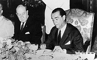0115496 © Granger - Historical Picture ArchiveJUSCELINO KUBITSCHEK.   Juscelino Kubitschek de Oliveira (1902-1976). Brazilian politician and President of Brazil, 1956-1961. Kubitschek (right) at a luncheon given in his honor at the National Palace by Mexican President Adolfo Lopez Mateos, 20 March 1963. At left is Mexican Foreign Secretary Manuel Tello.
