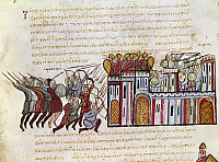 0115794 © Granger - Historical Picture ArchiveATTACK ON CONSTANTINOPLE.   Saracens assault Constantinople. Byzantine manuscript illumination from the Skylitzes Codex, 13th-14th century.