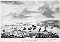 0029656 © Granger - Historical Picture ArchiveLOUISBOURG SIEGE, 1758.   The siege of the French fortress of Louisbourg on Cape Breton Island, Nova Scotia, by the British under General Jeffrey Amherst in 1758. Line engraving, English, 1762.