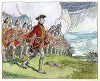 0057718 © Granger - Historical Picture ArchiveWOLFE AT QUEBEC, 1759.   General James Wolfe leading the British 'thin red line' into battle against the French on the Plains of Abraham outside Quebec City, 13 September 1759. Drawing by C.W. Jefferys.