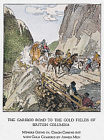 0057735 © Granger - Historical Picture ArchiveCANADA: GOLD MINING, 1860s.   A coach with gold, guarded by armed men, passes miners headed for the gold fields of Cariboo country, British Columbia, Canada, along the Cariboo Road, completed in 1865. Drawing by C.W. Jefferys.