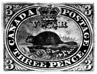 0068087 © Granger - Historical Picture ArchiveCANADIAN POSTAGE STAMP.  The three-penny 'Beaver,' the first Canadian postage stamp, designed by Sir Sandford Fleming and issued on 23 April 1851.