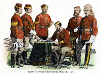 0076202 © Granger - Historical Picture ArchiveCANADIAN MOUNTIES, 1873.   Officers of the North West Mounted Police, 1873. Pen-and-ink drawing by C.W. Jefferys.