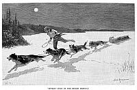 0078240 © Granger - Historical Picture ArchiveCANADA: FUR TRADE, 1892.   'Huskie dogs on the frozen highway.' A Canadian fur trapper and his team of husky dogs pulling a toboggan loaded with furs across the moonlit snow. Wood engraving, 1892, after Frederic Remington.