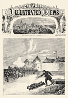 0079476 © Granger - Historical Picture ArchiveRED RIVER REBELLION, 1870.   The execution of prisoner Thomas Scott by Métis rebels at Fort Garry, Manitoba, during the Red River Rebellion, 4 March 1870. Front page of a contemporary Canadian newspaper.
