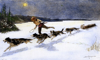 0082073 © Granger - Historical Picture ArchiveCANADA: FUR TRADE, 1892.   A Canadian fur trapper and his team of husky dogs pulling a toboggan loaded with furs across the moonlit snow. Wood engraving, 1892, after Frederic Remington.