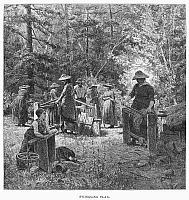 0094418 © Granger - Historical Picture ArchiveSWINGLING FLAX, 1883.   Cleaning flax to make textile fiber in rural Canada. Engraving, 1883.