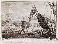 0102894 © Granger - Historical Picture ArchiveKING GEORGE'S WAR, 1745.   The landing of English forces at Louisbourg, Cape Breton Island (Ile Royale), Canada, 1745. Contemporary copperplate engraving by John Stevens.