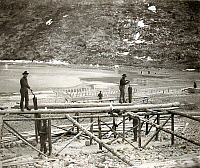 0112976 © Granger - Historical Picture ArchiveYUKON: SAW MILL, c1897.   Men using pit saws to cut lumber for boat construction at Bennett Lake, near Dawson City, Yukon Territory, Canada. Photograph, c1897.
