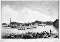 0118522 © Granger - Historical Picture ArchiveFORT FREDERICK, 1758.   North view of Fort Frederick on the Bay of Fundy, Nova Scotia, at the site of present-day St. John, New Brunswick. Watercolor, 1758, by Thomas Davies.