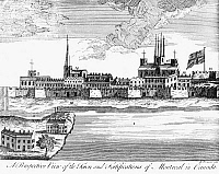 0118532 © Granger - Historical Picture ArchiveCANADA: MONTREAL, 1760.   View of the town and fortifications of Montreal, Canada, on the St. Lawrence River, at the time it was captured by the British during the French and Indian War, 1760. Contemporary line engraving by Daniel Pomarede of Dublin, Ireland.