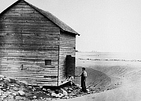 0118717 © Granger - Historical Picture ArchiveCANADA: DROUGHT, c1936.   An abandoned farmhouse in the province of Saskatchewan, in western Canada, during a drought. Photographed c1936.