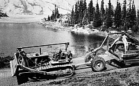 0118724 © Granger - Historical Picture ArchiveCANADA: ALASKA HIGHWAY.   The construction of the Alaska Highway, under the direction of the U.S. Army, in northern British Columbia and the Yukon Territory in western Canada, c1942.