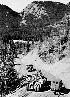 0118725 © Granger - Historical Picture ArchiveCANADA: ALASKA HIGHWAY.   The construction of the Alaska Highway, under the direction of the U.S. Army, in northern British Columbia and the Yukon Territory in western Canada, c1942.