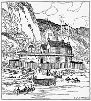 0163134 © Granger - Historical Picture ArchiveHABITATION OF QUEBEC, 1608.   Drawing by Charles W. Jefferys after an engraving in the works of Samuel de Champlain.