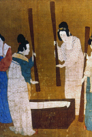 0020988 © Granger - Historical Picture ArchiveCHINA: SILK MANUFACTURE.   Women beating silk fibers in a trough with flails. Detail from 'Court Ladies Preparing Newly-woven Silk,' a painted silk handscroll attributed to Emperor Hui Tsung, Sung Dynasty, early 12th century, after a work by a T'ang Dynasty artist of the 8th century.