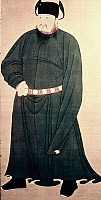 0024442 © Granger - Historical Picture ArchiveEMPEROR CHAUNG TSUNG (923-926). Personal name Li Cunxu. Chinese Emperor of the later T'ang Dynasty. Silk hanging scroll.