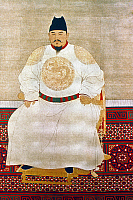 0024459 © Granger - Historical Picture ArchiveZHU YUANZHANG (1328-1398).   Hongwu Emperor, founder of the Ming Dynasty. Chinese silk hanging scroll.