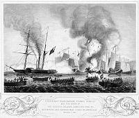 0038310 © Granger - Historical Picture ArchiveFIRST OPIUM WAR, 1841.   The East India Company's steamer 'Nemesis' and other boats destroying the Chinese war junks in Anson's Bay during the First Opium War, 7 January 1841. Line engraving by George Great Back after G.W. Terry, English, mid-19th century.