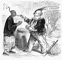 0047285 © Granger - Historical Picture ArchiveOPIUM WAR CARTOON, 1864.   'To the Weak Relation.' Cartoon from an American newspaper of 1864 showing John Bull (England) forcing China to accept opium.