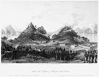 0049209 © Granger - Historical Picture ArchiveFIRST OPIUM WAR, 1841.   The British attack on and capture of Chuenpee, near Canton, China, in January 1841 during the First Opium War. Line engraving, English, 1843, by Henry Adlard, after a drawing by Thomas Allom.