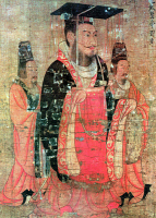 0066262 © Granger - Historical Picture ArchiveCHINA: EMPEROR KUANG WU TI   (4 B.C.-57 A.D.). Han emperor of China. Detail of a painted silk scroll, c650, attributed to Yen Li Pen.