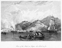 0102021 © Granger - Historical Picture ArchiveFIRST OPIUM WAR, 1841.   The close of the British attack on Shapoo, with the suburbs on fire. Steel engraving after Thomas Allom, 1843.
