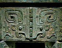 0105453 © Granger - Historical Picture ArchiveCHINA: BRONZE VESSEL.   Detail of a bronze 'fang ding' vessel. Anyang period, c1300-c1030 B.C.
