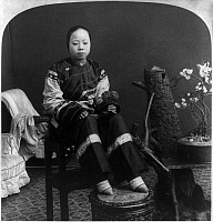 0105594 © Granger - Historical Picture ArchiveCHINA: LILY FOOT, c1900.   A 'lily footed' woman of China. Stereograph, c1900.