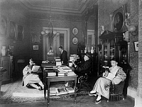 0115742 © Granger - Historical Picture ArchiveCHINESE LEGATION.   Chinese diplomat and Minister of Foreign Affairs Wu Ting-Fang with three other men of the The Chinese Legation reading in Stewart's Castle, Dupont Circle, Washington, D.C. Photograph by Frances Benjamin Johnston, late 19th or early 20th century.