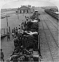 0116518 © Granger - Historical Picture ArchiveCHINA: TIENTSIN, c1901.   The arrival of horses of the 1st Bengal Lancers, a unit of the British Indian Army, at the station in Tientsin, China, during the Boxer Rebellion. Stereograph, c1901.