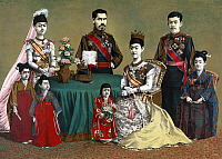 0118065 © Granger - Historical Picture ArchiveJAPAN: IMPERIAL FAMILY.  A portrait of the Meiji Emperor of Japan and his imperial family. Chromolithograph by Torajiro Kasai, c1900.