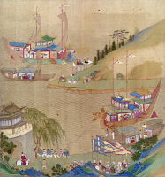 0120637 © Granger - Historical Picture ArchiveCHINA: EMPEROR AND BOATS.   Yang Ti, Sui emperor of China (604-618), and his fleet of sailing craft, including a dragon boat being pulled along the Grand Canal. Painted silk scroll, 18th century.