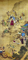 0120640 © Granger - Historical Picture ArchiveCH'IEN LUNG & AMBASSADORS.   Ch'ien Lung, Ch'ing emperor of China (1736-1796), riding in a dragon-drawn celestial carriage as he receives Portuguese ambassadors, who are bearing gifts of tribute. Painted silk scroll, Ch'ing Dynasty.