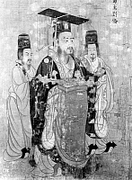 0120671 © Granger - Historical Picture ArchiveLIU BEI (161-223).   Also known as Xuande. Shu Han emperor of China, 221-223. Detail of a painted silk scroll, c650, attributed to Yen Li Pen.