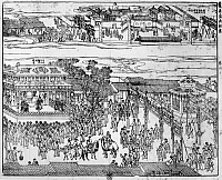 0120840 © Granger - Historical Picture ArchiveK'ANG-HSI (1654-1722).   Emperor of China, 1661-1722. Scene in Peking on the occasion of K'ang Hsi's arrival for the celebration of his 60th birthday. Chinese woodcut, early 18th century.