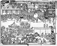0120843 © Granger - Historical Picture ArchiveK'ANG-HSI (1654-1722).   Emperor of China, 1661-1722. Scene in Peking on the occasion of K'ang Hsi's arrival for the celebration of his 60th birthday. Chinese woodcut, early 18th century.