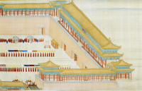 0120879 © Granger - Historical Picture ArchiveCHINA: FORBIDDEN CITY.   Scene in the outer courtyard of the Forbidden City, Peking, China, on the return of Emperor K'ang Hsi from his inspection tour in the lower Yangtze River basin in 1689. Detail from a contemporary painted silk scroll.